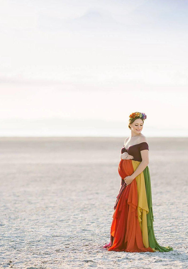 Pregnant mother wearing the Hope Gown in Jewel Tones by Sew Trendy Accessories on the Salt Flats in Utah.