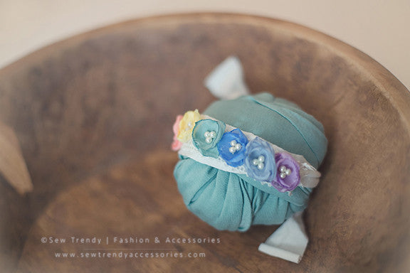 Rainee Newborn Tieback & 7 PIECE Wrap SET {pastel tones} • Rainbow Baby Line • Newborn Rainbow Floral Crown • Hope Floral Crown • Bohemian Crown • Rainbow Baby Crown | READY TO SHIP • by Sew Trendy