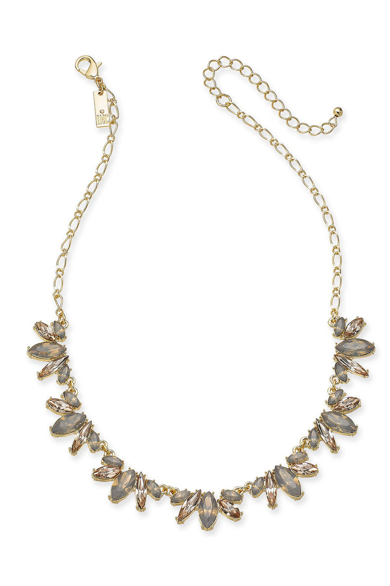 Gold neutral rhinestone necklace