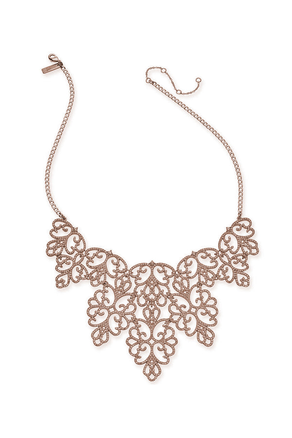 Rose Gold Scroll Statement Necklace