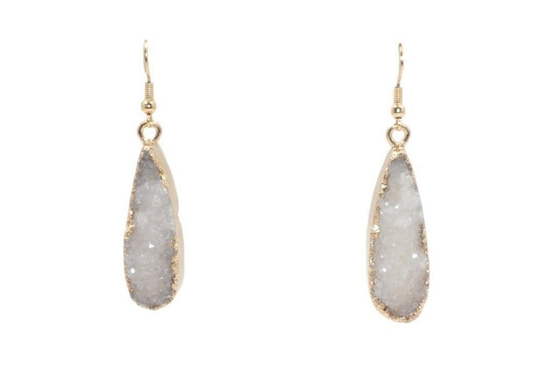 Gold Ice Drop Druzy Earrings