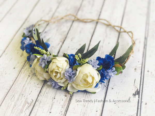 Lavender Blue Floral Crown • Organic Crown • Bohemian Crown • Lavender Crown • Flower Girl Crown • Wedding Crown • Photo Shoot Crown | Ready to Ship • by Sew Trendy