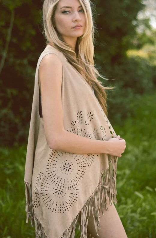 Boho Cut-Out Tassel Vest