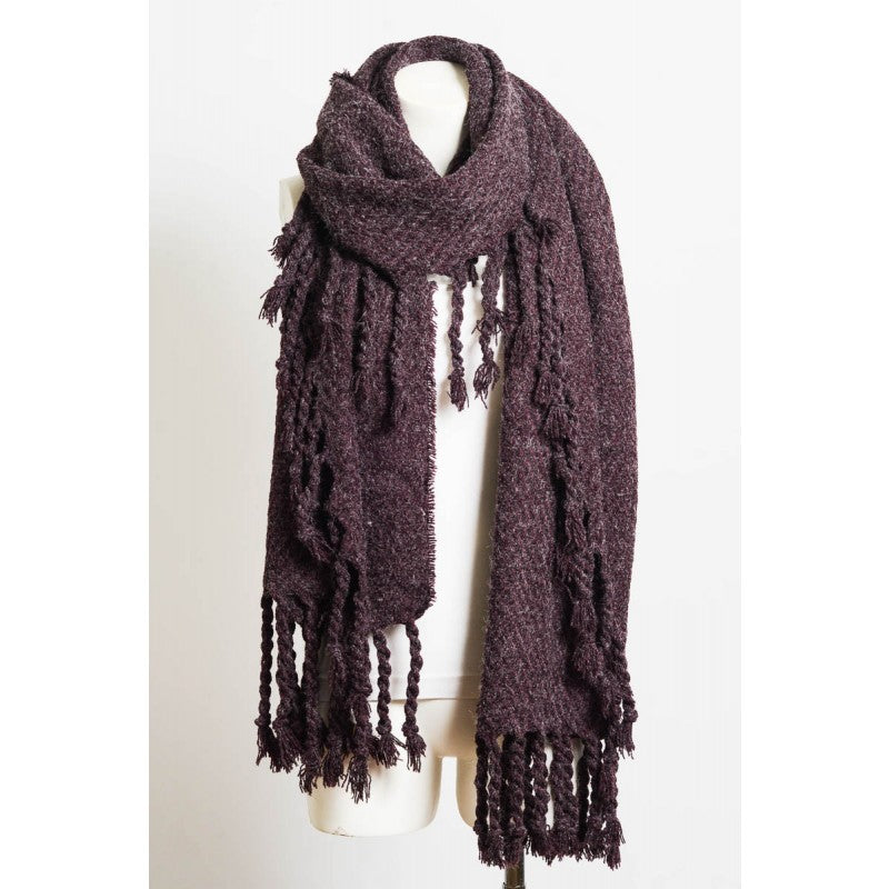 Oversized Chunky Tassel Knit Scarf in Raisin