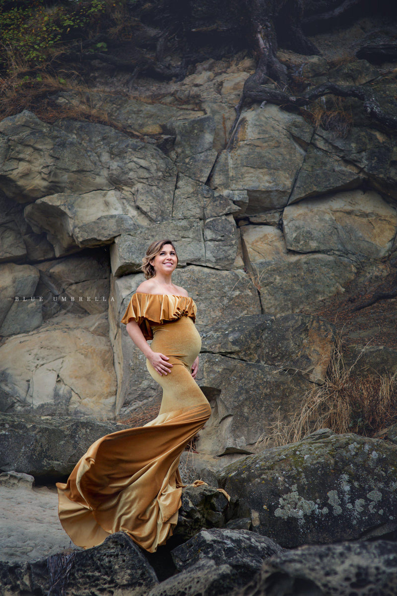 Cirenya Gown in Velvet-Maternity Gown-Sew Trendy Accessories
