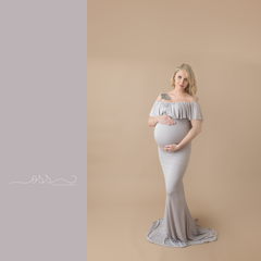 Colbie Gown • Fitted Maternity Gown • Ruffle Top Maternity Gown • Off Shoulder Maternity Gown • Slim Fit Gown • Sweetheart Style Dress • Bridesmaid Dress  • Event Gown • Photo Shoot • by Sew Trendy