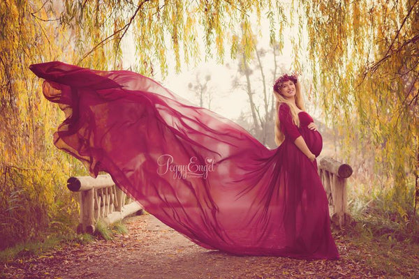 Marissa Gown • Long Flowing Sheer Chiffon Straight Top Maternity Gown • by Sew Trendy