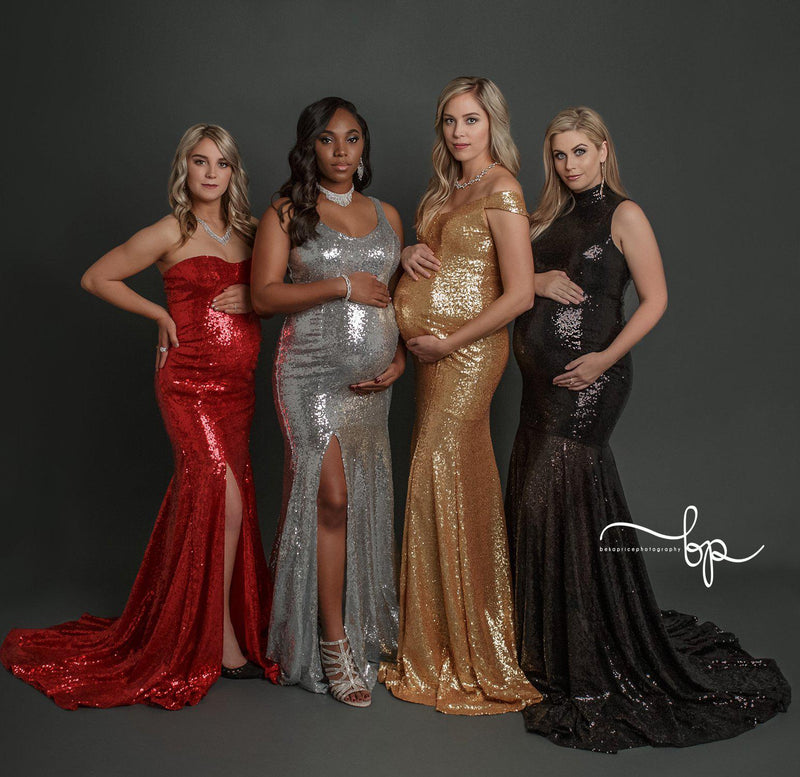 Pregnant women wearing the sequin gowns by Sew Trendy, standing on grey backdrop