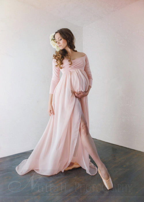 Patricia Gown • Off the Shoulder Chiffon Maternity Gown • Long Sleeve Maternity Gown • Maternity Gown • Renaissance Gown • by Sew Trendy
