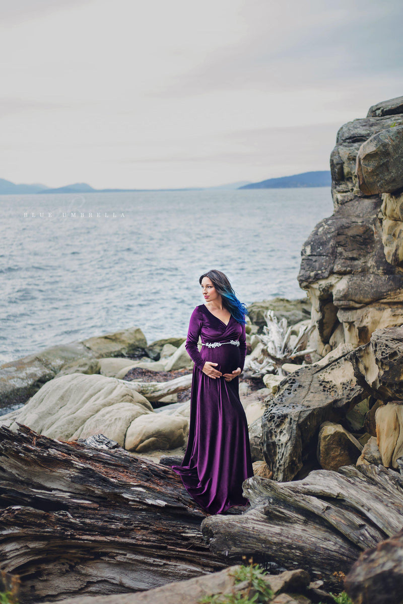 Vernice Gown in Velvet-Maternity Gown-Sew Trendy Accessories