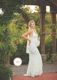 Cecily Gown • Lace Mermaid Style Pregnancy Gown • Halter Gown • Halter Style Maternity Gown • by Sew Trendy