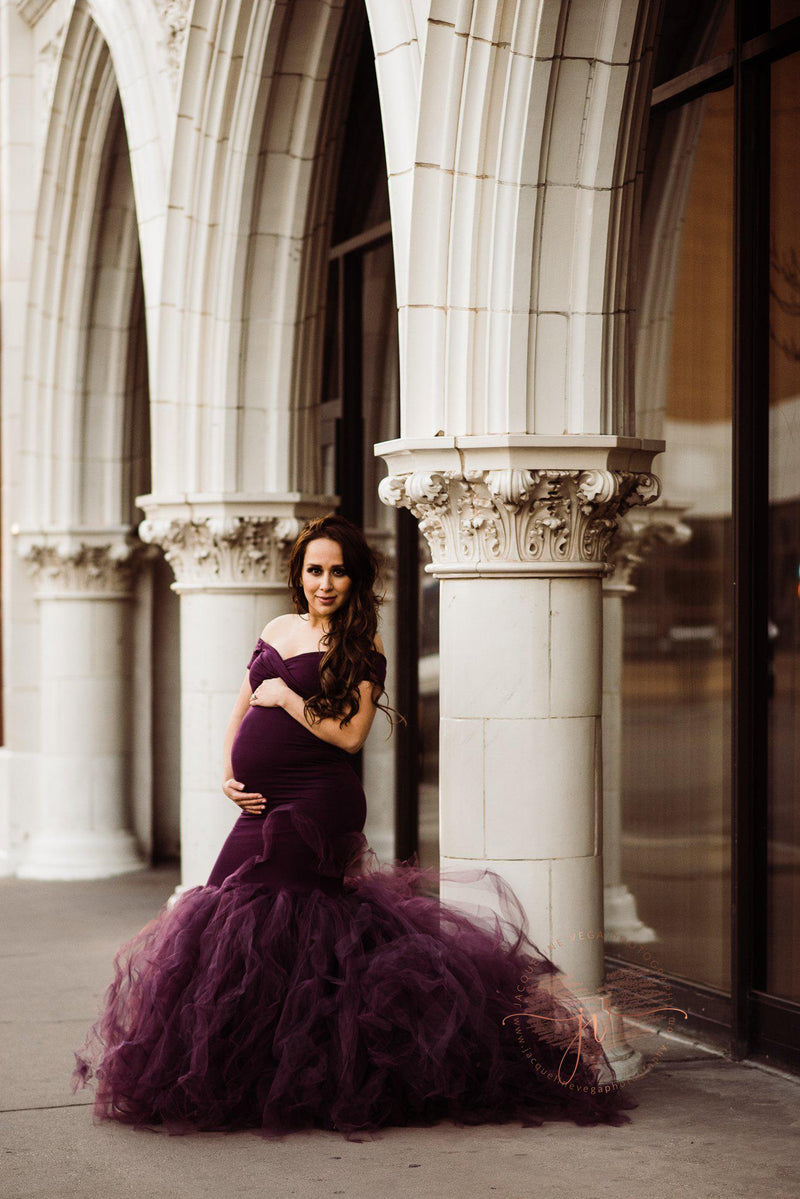 Pregnant mother in the Jacqueline Gown in Plum by Sew Trendy Accessories.