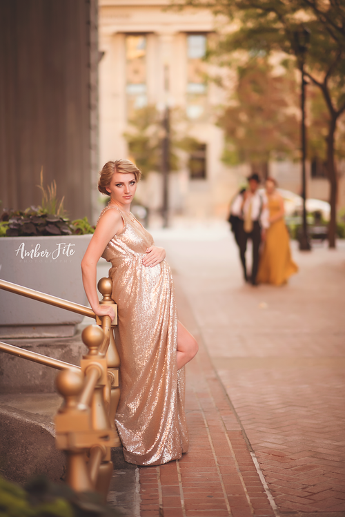 Tessa Gown • Sequin Maternity Gown • Tank Style Maternity Gown • Wrap Maternity Gown • Maxi Dress • by Sew Trendy