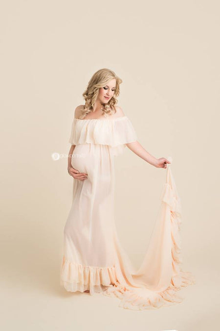 Mallory Gown • Long Flowing Off the Shoulder Short Sleeve Sheer Chiffon Straight Top Maternity Gown • by Sew Trendy