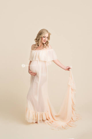 Robinett Gown • Boho Sheer Maternity Gown • Ruffle Top Gown • Pregnancy Gown by Sew Trendy