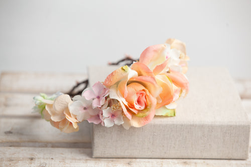 Beverlee Floral Crown • Bohemian Floral Crown • Peach Floral Crown • Grapevine Crown • Wedding Crown • Flower Girl Headpiece | Ready To Ship • by Sew Trendy