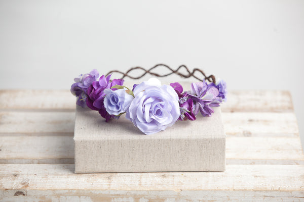 Avery Purple Floral Crown • PURPLE Floral Crown • Wedding Head Piece • Princess Floral Crown • Bohemian Crown • Flower Girl | Ready To Ship • by Sew Trendy