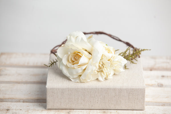 Sierra Floral Crown • Ivory Rose Floral Crown • Fern Grapevine Crown • Daisy Crown • Bridal Crown • Babys Breath Crown  | Ready To Ship • by Sew Trendy
