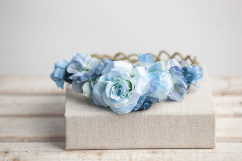 Avery Blue Floral Crown •  BLUE Rose Floral Crown • Wedding HeadPiece • Princess Floral Crown • Bohemian Crown • Flower Girl | Ready To Ship • by Sew Trendy