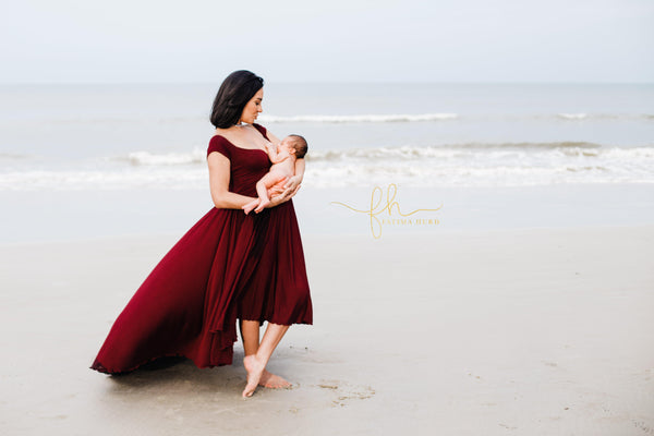 Kaelynn Hi Low Gown • Flowy Fit Maternity Gown • Off The Shoulder Gown • Knit Maternity Gown • Maxi Dress • Pregnancy Dress • by Sew Trendy