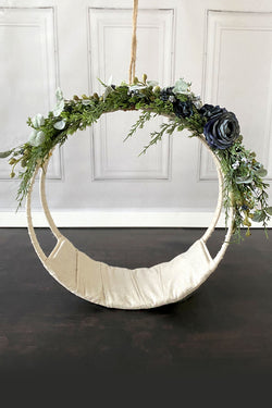 Newborn Floral Hoop Garland in Frost Blue