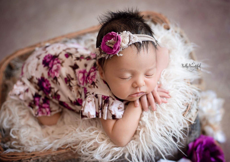 Ava Romper {taupe floral}-newborn dress-Sew Trendy Accessories