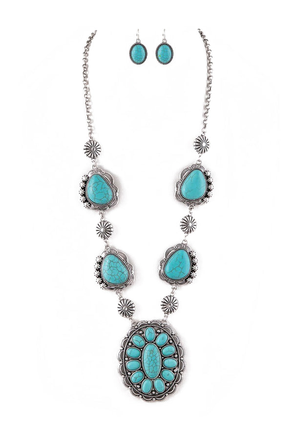 Boho Stone Blossom Necklace Set in Turquoise