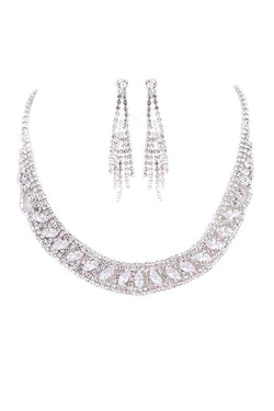 Marquis Round Rhinestone Necklace & Earring Set