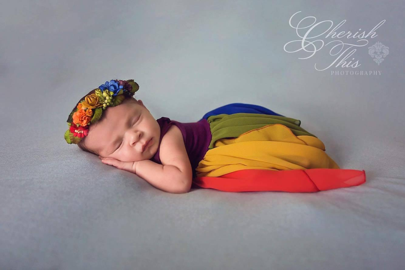 Destiny Gown • Rainbow {jewel tones} Newborn Gown • Rainbow Baby • by Sew Trendy