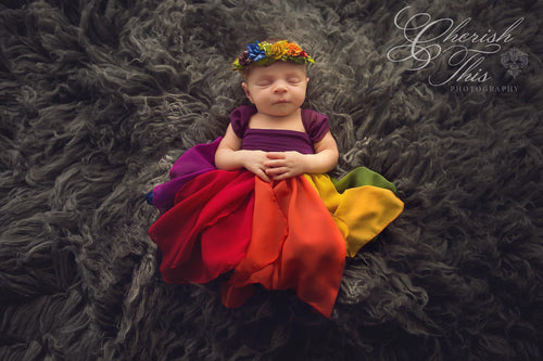 RTS: Destiny Gown Rainbow {jewel tones} Newborn Gown • Ready to Ship | by Sew Trendy