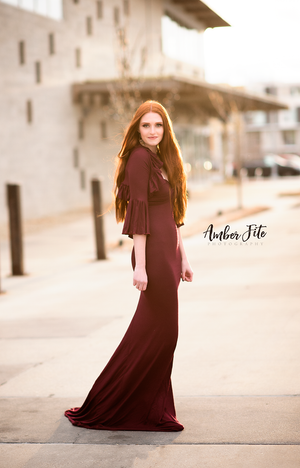 USED Jessica Gown and Ruffle Shrug {knit} in BURGUNDY • Size XS | Ready To Ship