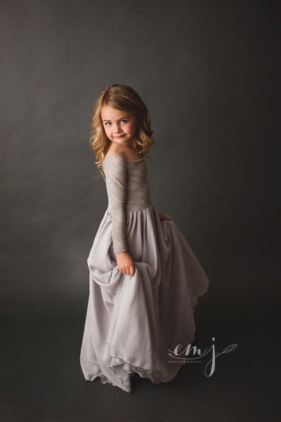 Cynthia Girls Gown •  Full Circle Chiffon Skirt • Lace Off the Shoulder Top • Girls Couture • Princess Photo Shoot • Birthday Dress • by Sew Trendy