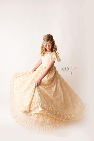 Josie Girls Gown • Lace Girls Gown • Girls Full Circle Gown • by Sew Trendy