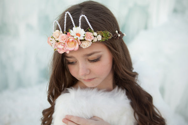 Ingrid Floral Crown • Princess Floral Crown • Paper Organic Floral Crown • Bohemian Crown • Moss Grapevine Crown • Pearls | Ready To Ship •  by Sew Trendy