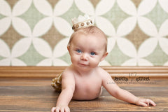 Dominic Crown • Baby Burlap Crown • Button Crown • Newborn Photo Prop | Ready To Ship