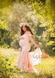Samantha Gown • Sweetheart Lace and Chiffon Pregnancy Dress • Fitted Chiffon Mermaid Style Maternity Gown • by Sew Trendy