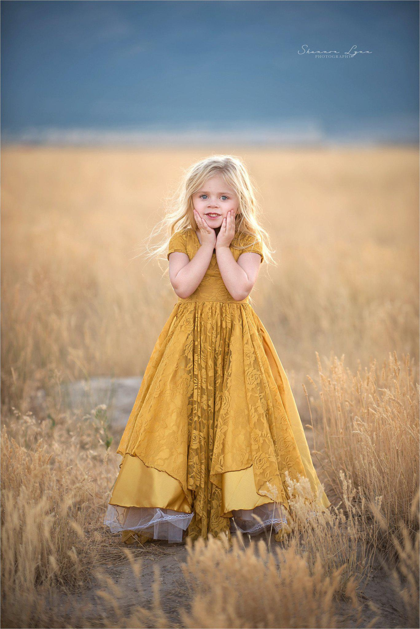 Maggie Gown • Girls Tiered Lace Gown • by Sew Trendy