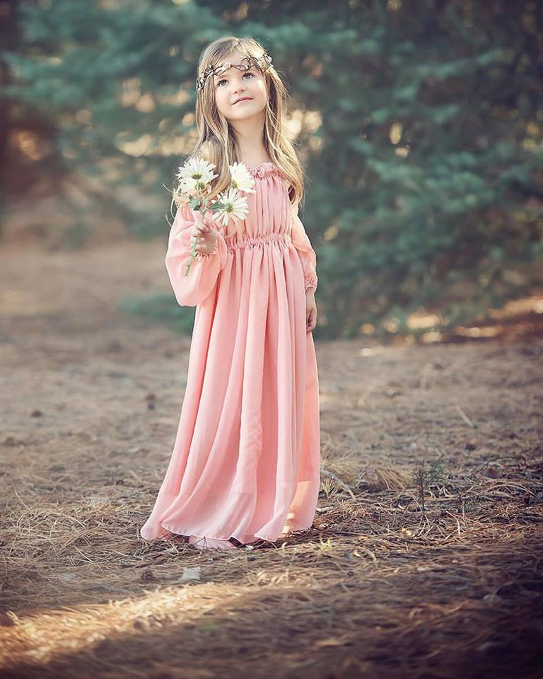 Cadence Gown • Vintage Style Chiffon Girls Gown • Girls Bohemian Dress  • by Sew Trendy