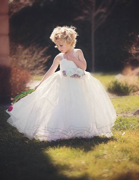 Madison Gown • Bridal Tulle Lace Lined Knit Top Girls Tutu • by Sew Trendy