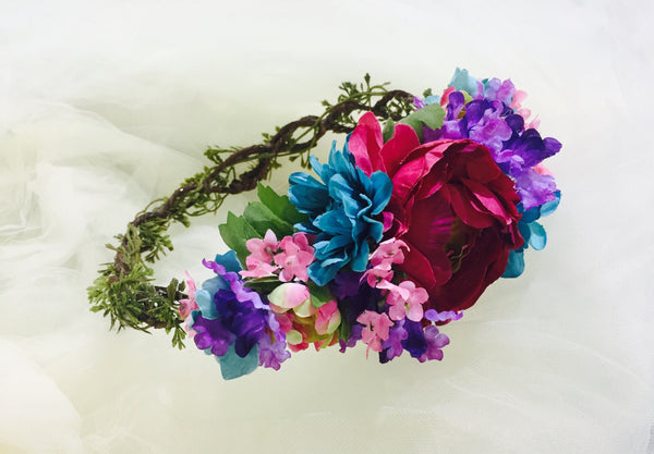 Lanai Crown • Floral Crown • Vibrant Floral Crown • Spring Floral Crown • Garden Floral Crown | Ready To Ship • by Sew Trendy