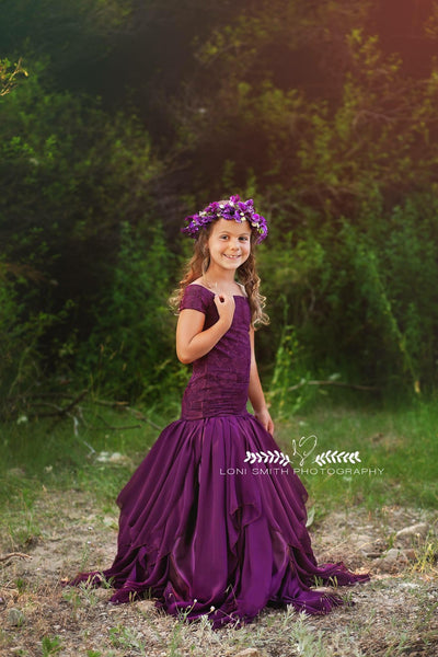 Sammie Gown • Lace Mermaid Style Gown • Chiffon Girls Dress • Flower Girl Gown• by Sew Trendy