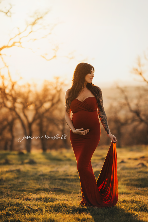Pregnant mother in the Jessica Gown in by Sew Trendy Accessories.