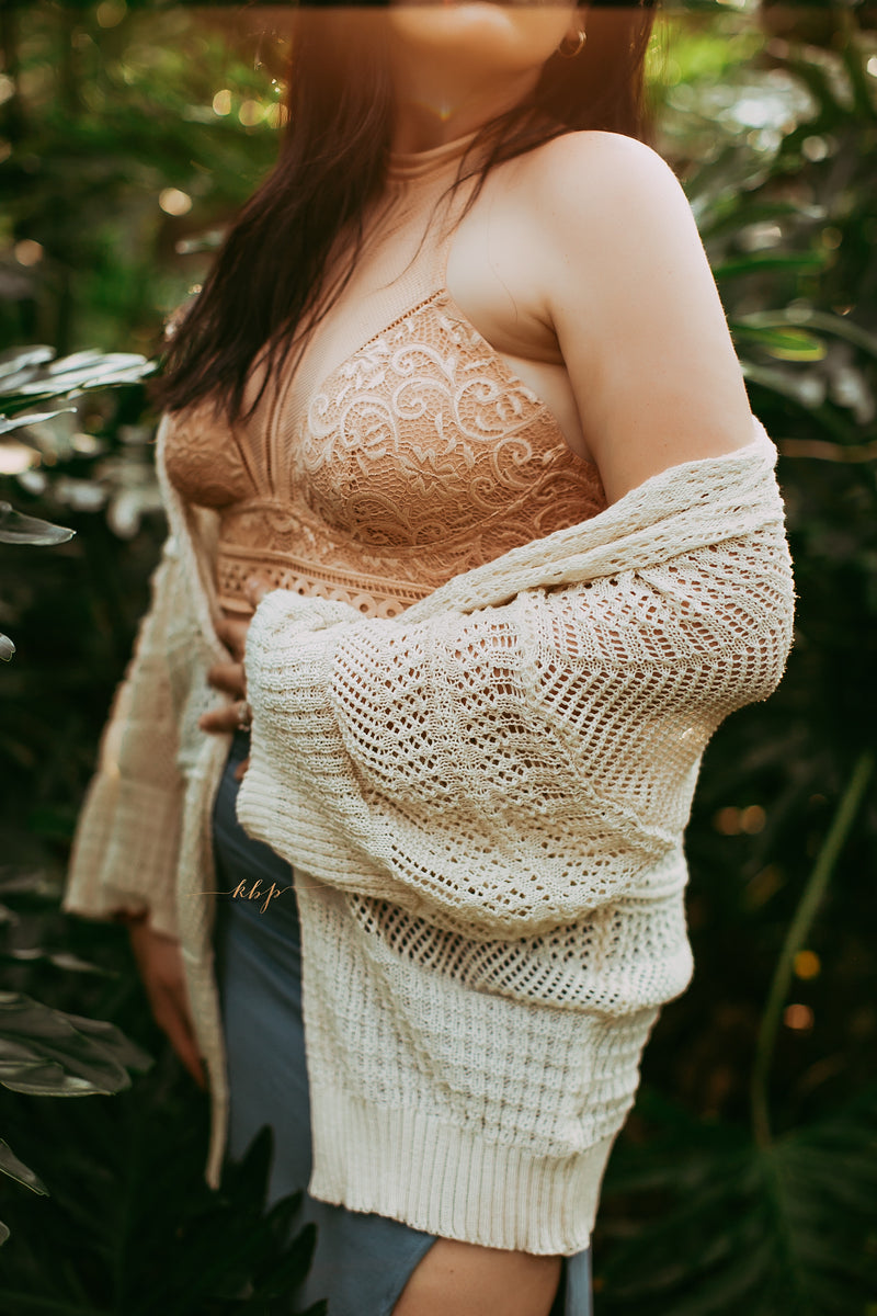 Knit Netted Cardigan in Beige