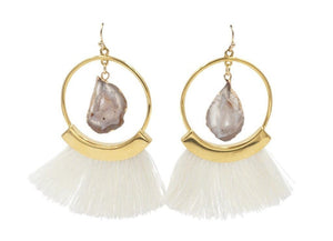 Agate Ashen Fringe Earrings