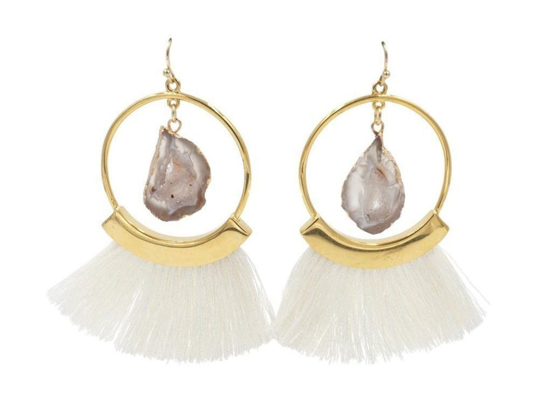 Gold Agate Ashen Fringe Earrings