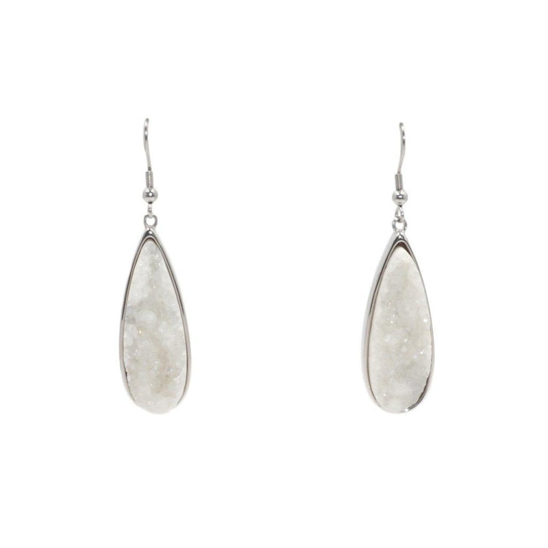 Silver Quartz Drop Earrings
