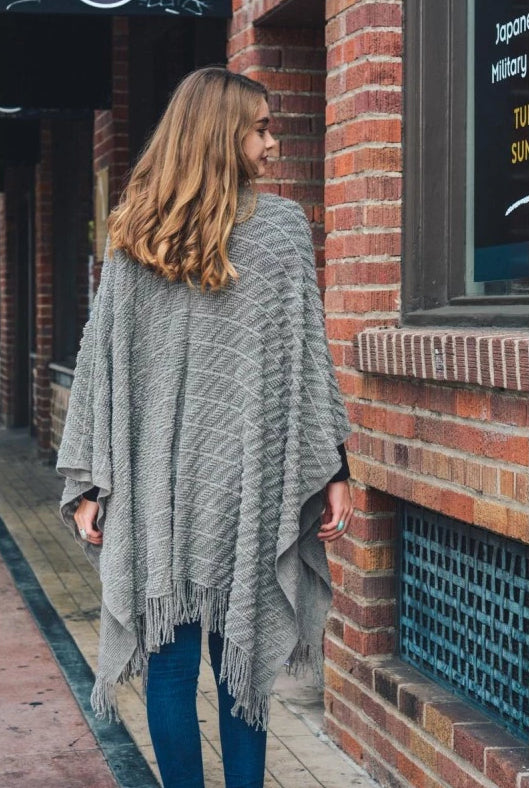 Heather Grey Sweater Knit Tassel Ruana