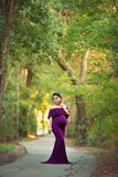 Mariah Gown • Off Shoulder Flounce Maternity Dress • Mermaid Style Maternity Gown • by Sew Trendy