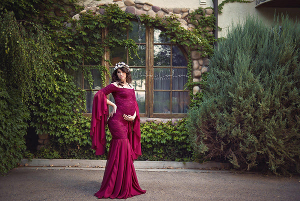 Angora Gown • Renaissance Style Maternity Gown • Bell Sleeve Maternity Gown • Mermaid Style Maternity Gown • by Sew Trendy
