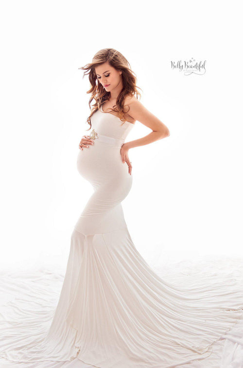Bonnie Gown O Fitted Maternity One Shoulder Flutter Sleeve